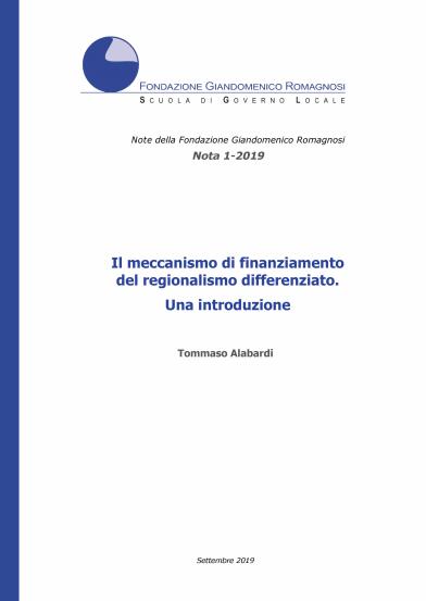 Il meccanismo di finanziamento del regionalismo differenziato