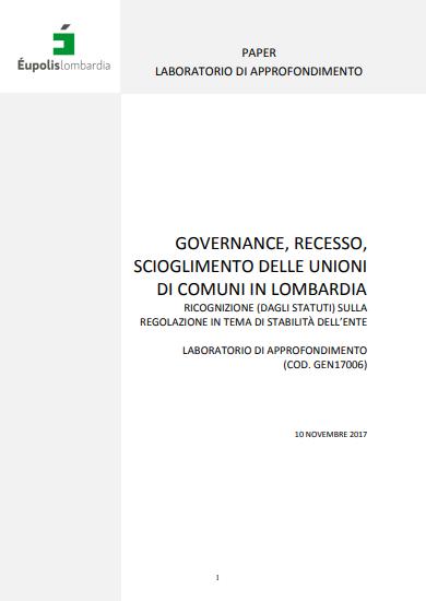 Governance, recesso, scioglimento delle Unioni di Comuni in Lombardia