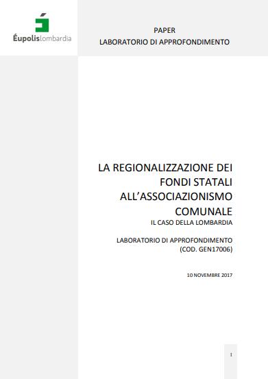 La regionalizzazione dei fondi statali all'associazionismo comunale